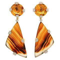 Checkerboard Citrine Montana Agate Diamond Gold Earrings