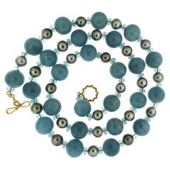 Aquamarine Balls and Tahitian Pearls Necklace