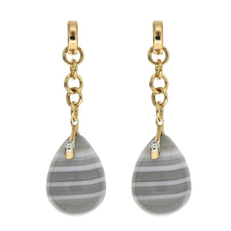 Valentin Magro Unique Agate Diamond Gold Drop Earrings