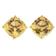 Large Cushion Faceted Citrine Earrings
