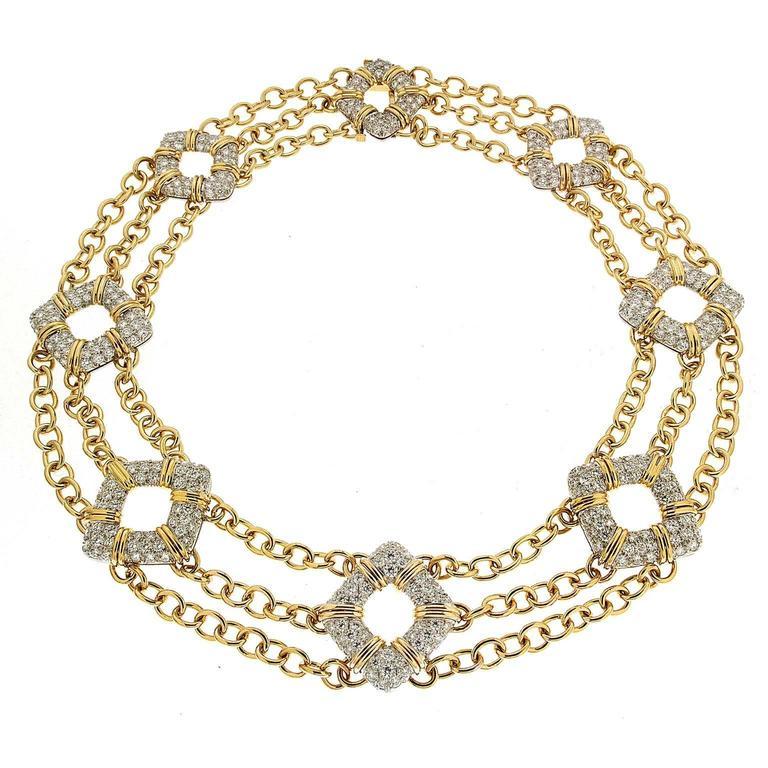 Nautical Motif Diamond Pave Gold Platinum Necklace 1