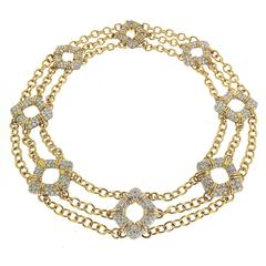 Nautical Motif Diamond Pave Gold Platinum Necklace
