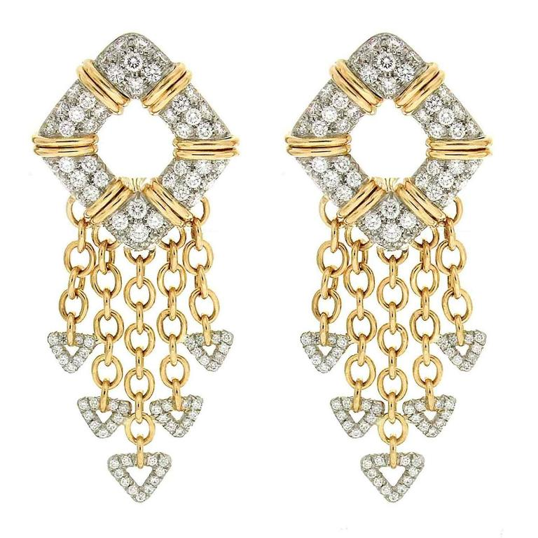 Valentin Magro Nautical Motif Diamond Pave Gold Platinum Earrings
