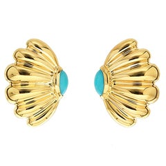 Valentin Magro Sea Fan Gold Earrings with Cabochon Turquoise