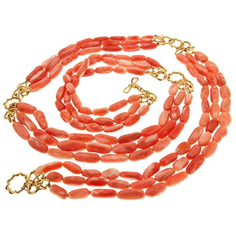 Multi-Strand Angel Skin Coral Nuggets Necklace with Gold Links