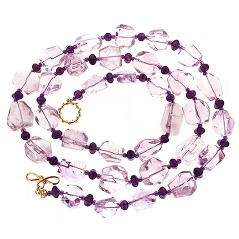 Valentin Magro Purple Amethyst Boulders Dark Amethyst Roundels Gold Necklace 1