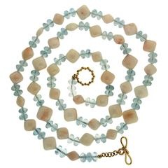 White Coral and Aquamarine Necklace