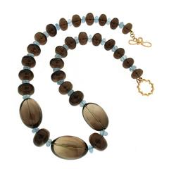 Valentin Magro Brown Topaz with Aquamarine Roundels Necklace