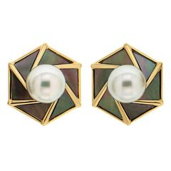 South Sea Pearl with Tahitian Mother-of-Pearl Earrings 'Small'