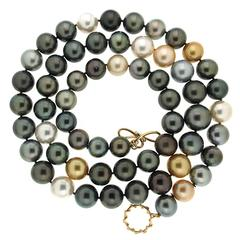 Multi Color South Sea, Golden and Tahitian Pearls Necklace