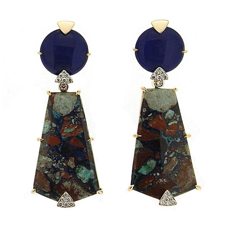 Round Lapis and Special Cut Azurite Malachite Earrings  For Sale