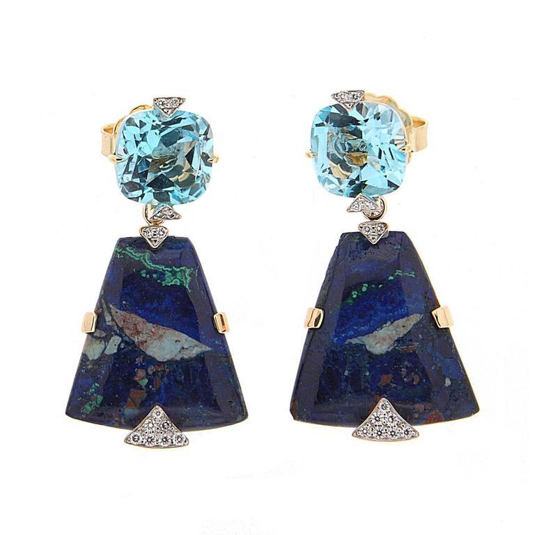 Cushion Blue Topaz and Trapezoid Azurite Malachite Earrings