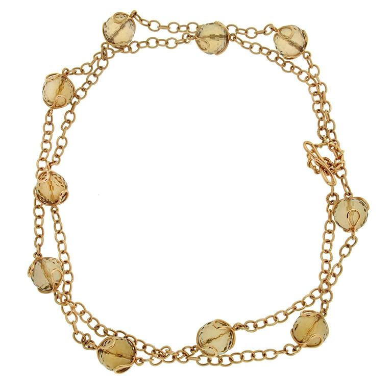 Carina Citrine facet ball necklace 1