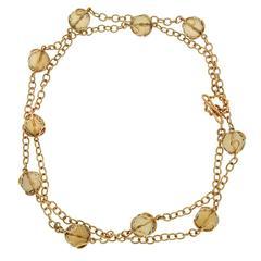 Carina Citrine facet ball necklace