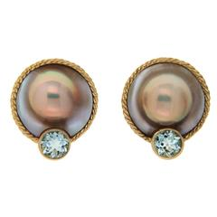 Mabe Pearl and Aquamarine Earrings