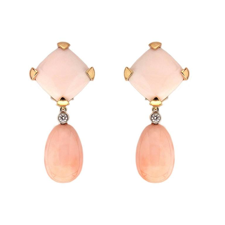Valentin Magro Angel Skin Coral Cushion and Drop Earrings