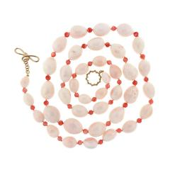 Creamy Pink Coral Drops and Red Coral Beads Necklace