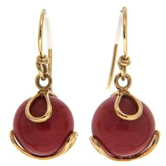 Valentin Magro Dark Red Coral Ball Gold Carina Earrings