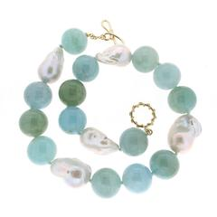 Aquamarine Ball and Freshwater Pearls Necklace