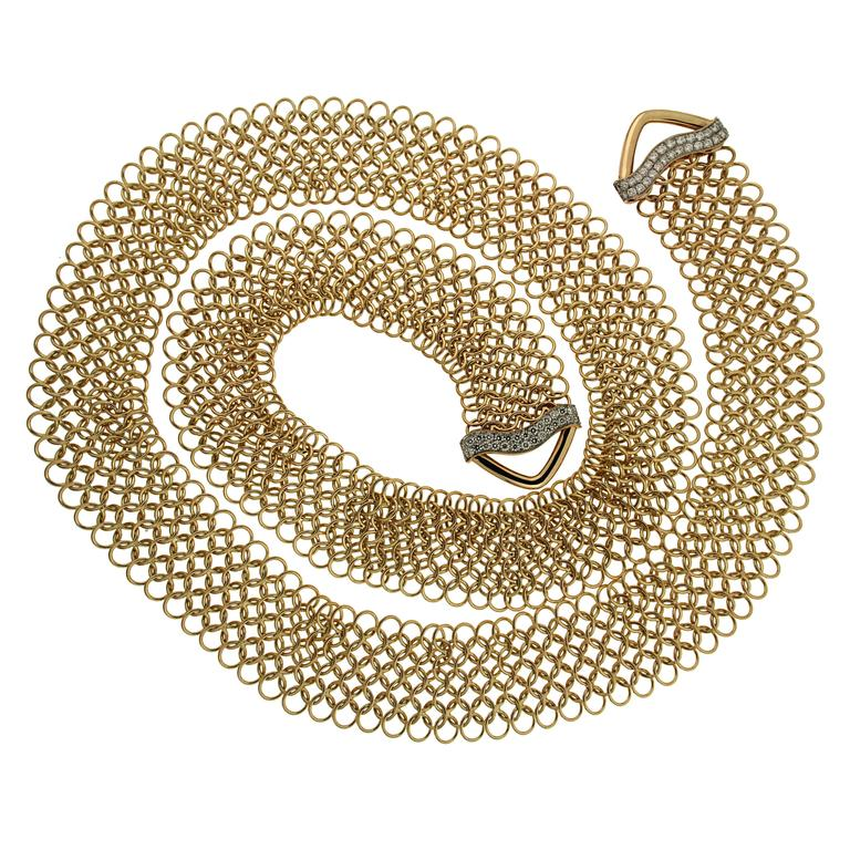 Unique Diamond Gold Multi-Wear Necktie Mesh Necklace 1