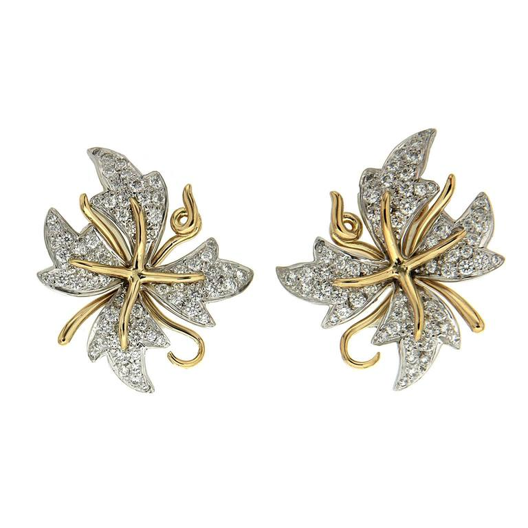 Valentin Magro Petal Flora Diamond Gold Platinum Earrings