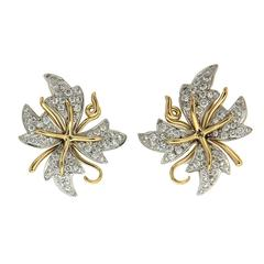 Petal Flora Diamond Gold Platinum Earrings