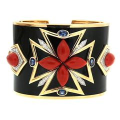 Coral Black Enamel Sapphires Diamonds Gold Maltese Cuff Bracelet