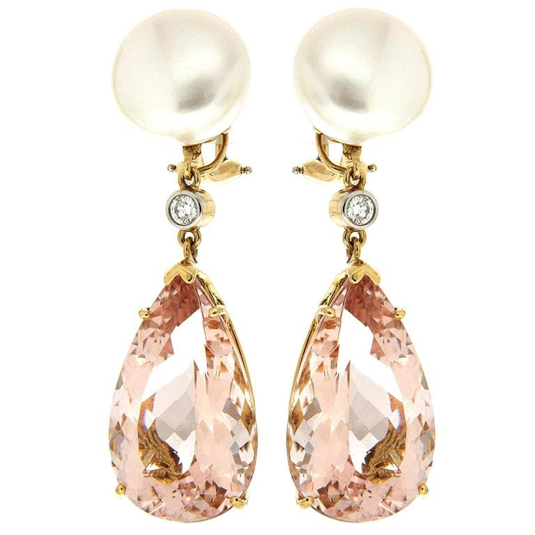 Valentin Magro Button Pearl Diamond Morganite Yellow Gold Drop Earrings For Sale