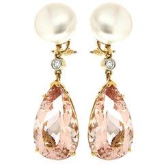 Valentin Magro Button Pearl Diamond Morganite Yellow Gold Drop Earrings