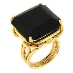 Valentin Magro Square Cut Corner Black Jade yellow gold Ring