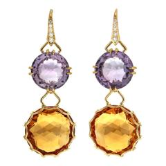 Round Amethyst Citrine yellow gold Checkerboard Earrings