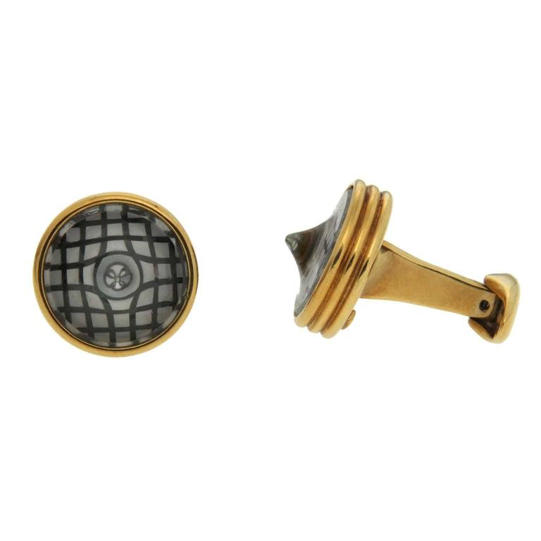Valentin Magro Round Crystal Yellow Gold Checkerboard Cufflinks For Sale
