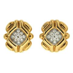 Valentin Magro Round Brilliant Pave Diamond Yellow Gold Tartlet Earrings