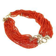 Multi Strands Orange Pebble Coral Necklace
