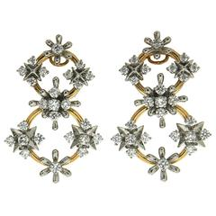 Circo dei Fiori Diamond Gold Circle Link Earrings