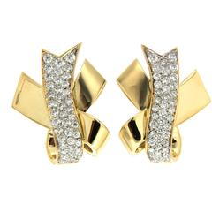 Valentin Magro Gold Ribbon Earrings with Pave Diamonds