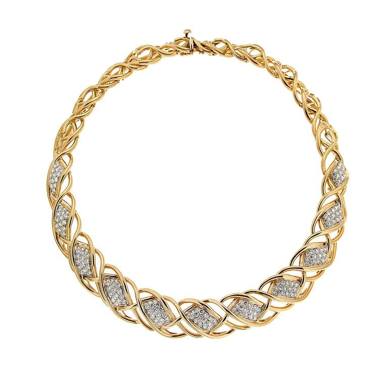 Valentin Magro Curvy Twisted Gold Line Necklace with Diamond Pave Motifs