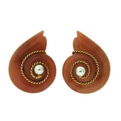 Smooth Snail Earring in Orange Aventurine with Pearl Centre