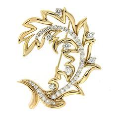 Open Leaf Diamond Gold Brooch