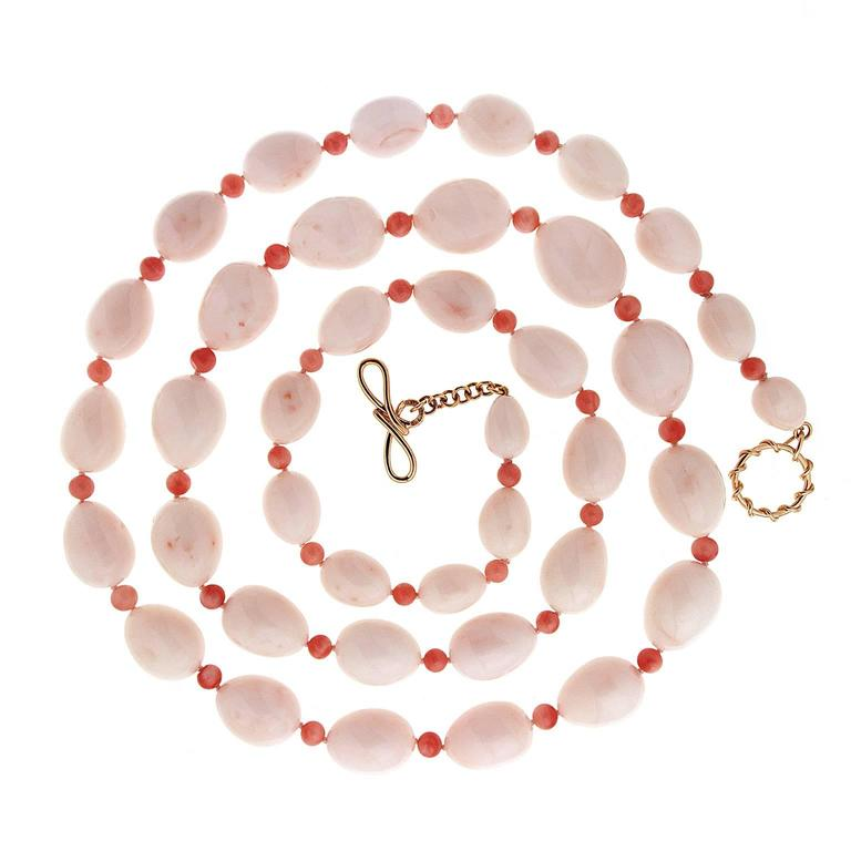 White Coral Tear Drops and Dark Red Coral Rondelles Necklace