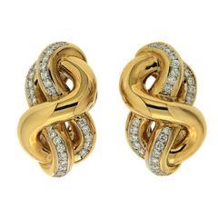 Hercules Knot Diamond yellow gold Earrings