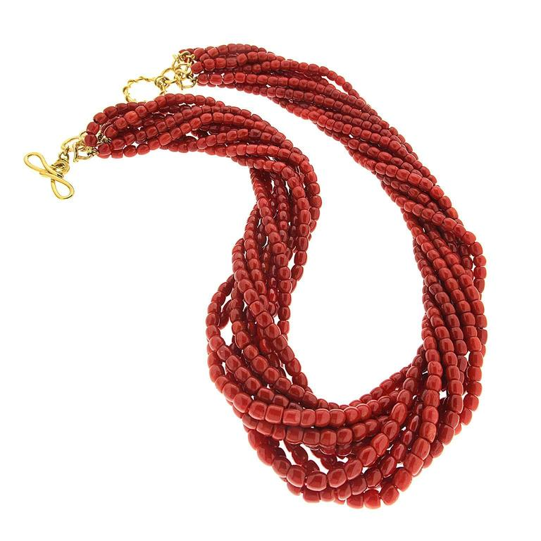 Valentin Magro Multi Strands of Sardinian Red Coral Barrel Shaped Beads Necklace