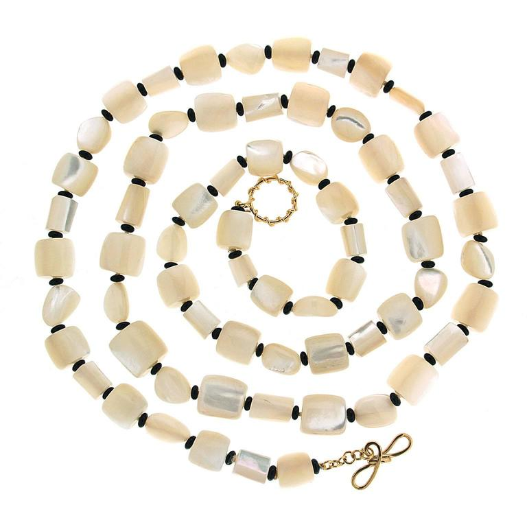 Cylindrical Mother-of-Pearl Barrel Shaped Necklace with Black Onyx Beads