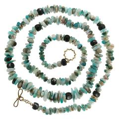 Peruvian Opal Tumbled Beads with Black Mother-of-Pearl Rondelle Necklace