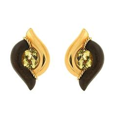 Modern Double Pointed Wood and Gold Earrings with Oval Lemon Quartz