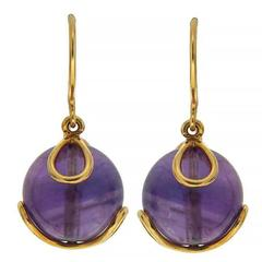 Carina Amethyst Gold French Wire Earrings
