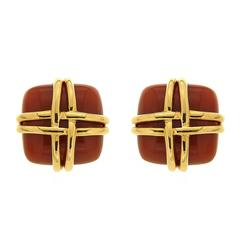Valentin Magro Carnelian Small Square Earrings with Woven gold Wires