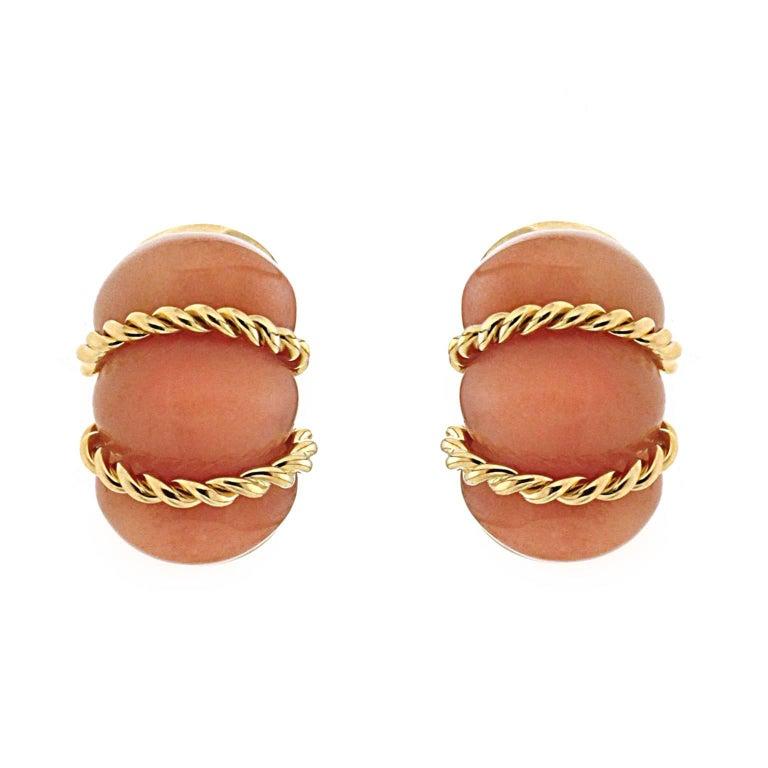 Valentin Magro Pink Aventurine Gold Shrimp Earrings