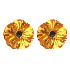 Hand-Carved Amber Cabochon Sapphire Gold Flower Earrings