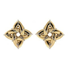 Gold Gothic Earrings 'Small' with Platinum Wires
